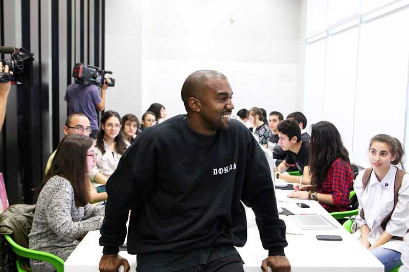 Kanye West hanging out with TUMO Animation Workshop Students 1