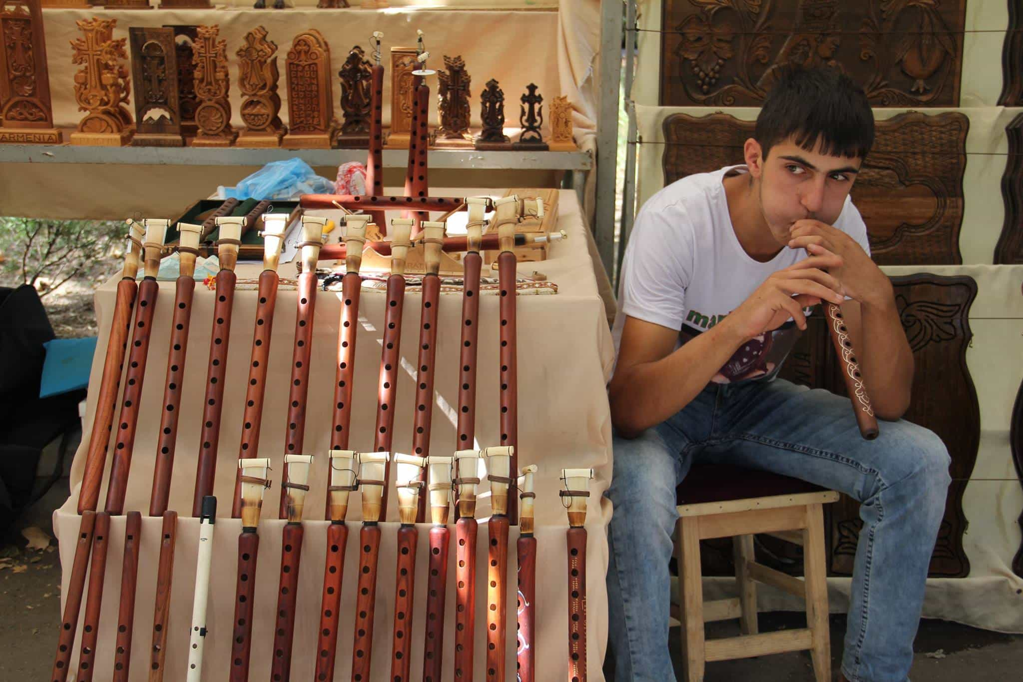 At the Vernissage Flea market in Yerevan, Armenia, a stall selling Armenian duduk flutes made out of apricot wood.