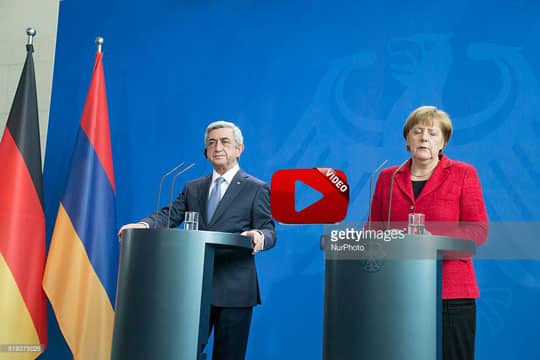 German Chancellor Angela Merkel and President of Armenia Serzh Sargsyan are pictured during a news conference at the Chancellery on April 6, 2016 in Berlin