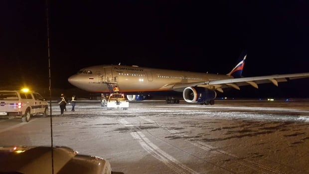 Aeroflot Flight 107 from Los Angeles to Moscow landed at the Iqaluit airport overnight due to an unruly passenger. (submitted by Matt Edmunds)