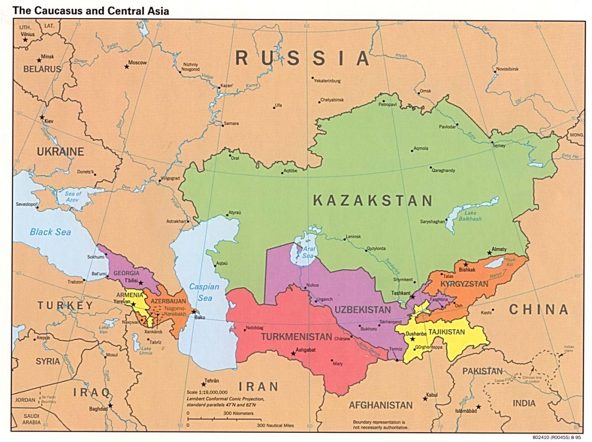 """The Caucasus and Central Asia (credit """"Perry-Castañeda Library"""")"""